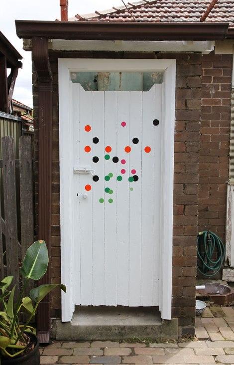 Sarah Newall, experiment 2a, 2013. acrylic house paint on door.