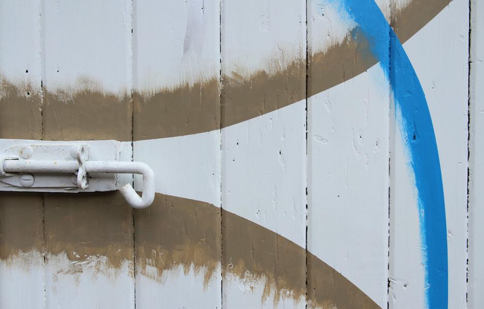"""Elizabeth Pulie,"""" #24 (Toilet Door)"""" (detail) 2013 Acrylic paint on wood"""