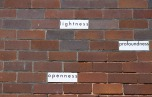 Cherine Fahd: Titleness (2013). Paper, glue on house brick, installation, 28 Leofrene Ave