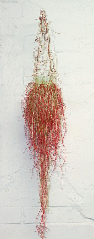 Annie Aitken: STITCHED 18, 2009, polypropylene, nylon net, stainless steel wire, acrylic rod, 112 x 19 x 19cm