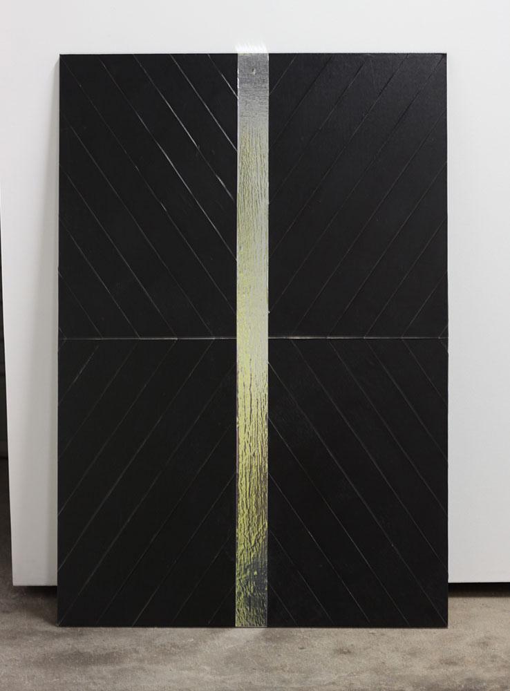 Biljana Jancic: Refraction, 2010. Cloth tape, aluminium tape on marine ply. 61 x 90cm