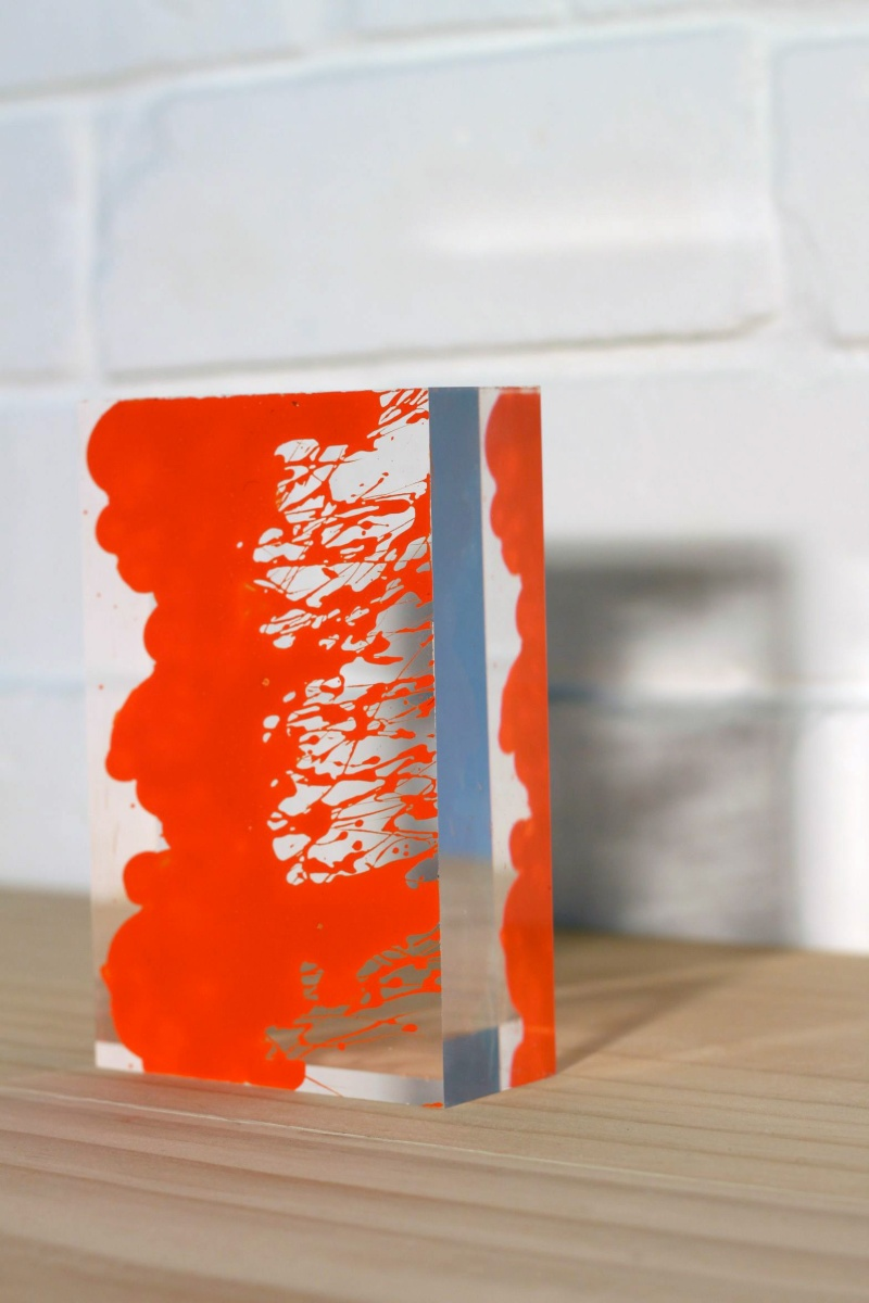 Mark Titmarsh Book of Light 10 (orange), 2010 acrylic paint on acrylic glass 14 x 9 x 4cm SOLD