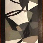 Meredith Lynch: Untitled (grey pattern). Mixed media on recycled glass. External frame dimensions 91 x 28cm