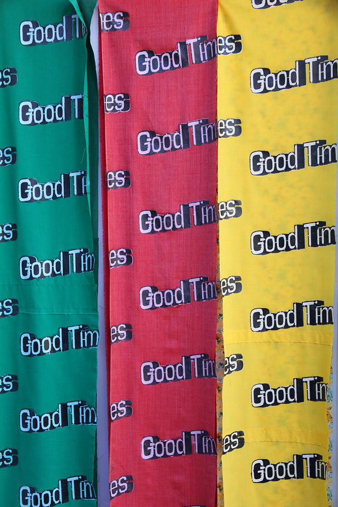 Sarah Nolan: Good Times (2013). Fabrics, acrylic paint, gloss-medium and varnish.