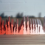 Nuha Saad Small Sculpture In Orange, 2000 acrylic on wood, 19 x 10 x 43cm