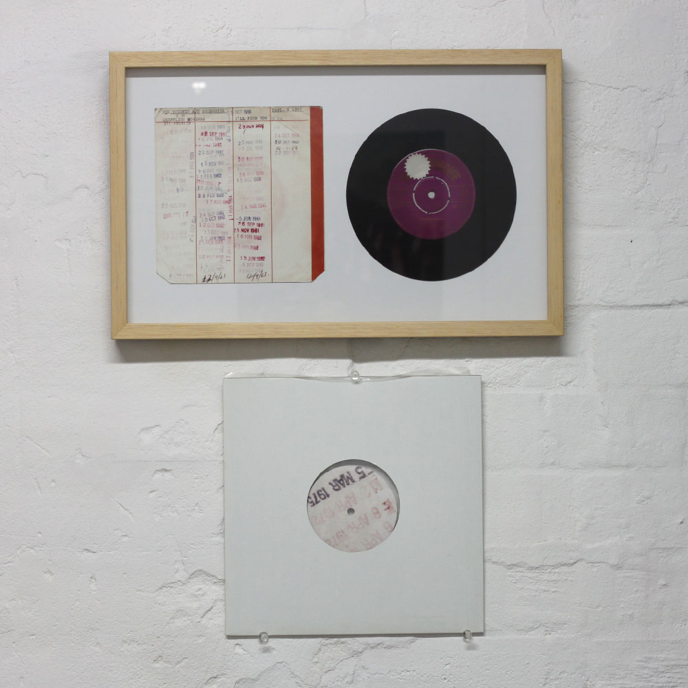 """Ryszard Dabek: untitled, 2005, lambda print, 44 x 27.2cm, 10"""" phonograph record (one side is the roar of the ocean, the other side is a series of pops and clicks sampled from the original 7"""" record) SOLD"""