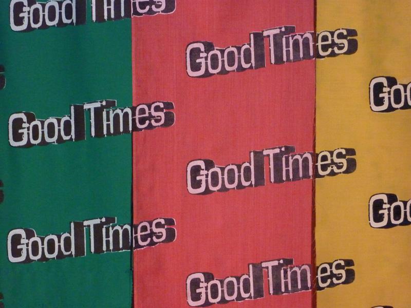 Good Times, 2013, Various fabrics, acrylic paint, gloss medium and varnish. 730x1900mm