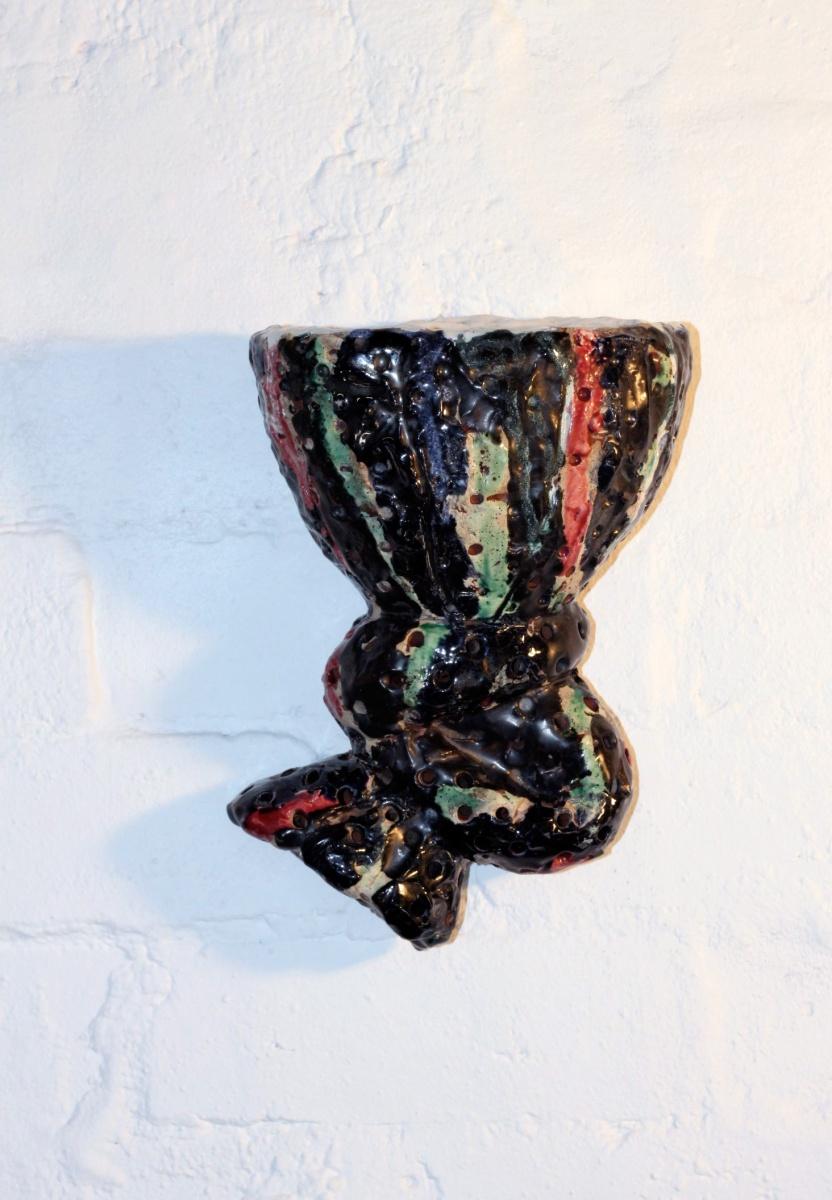 Toni Warburton Curtain Vase Study ceramic, painted with ceramic glazes, earthenware