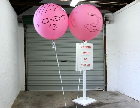 Jane Polkinghorne and Sarah Newall: Air Heads (2013). Texta on helium balloons