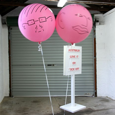 Jane Polkinghorne and Sarah Newall: Air Heads (2013). Texta on helium balloons