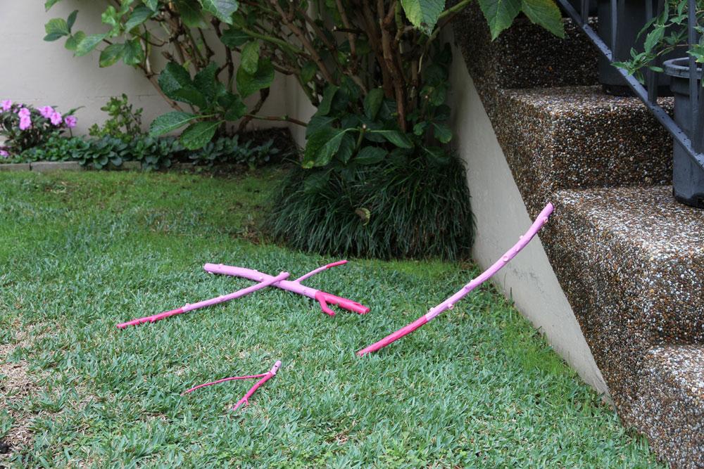 Sally ClarkePhantom Limbs(2014)sticks, paint