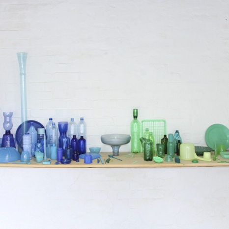 Sarah goffman: Blues and Greens 2014. plastic, size variable
