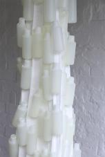 Annie Magdalena Lærkesen: Huna Te Kiri (Skin/ Hide), 2014, (Hanging Sculpture), installation view Lycra, plastic bottles