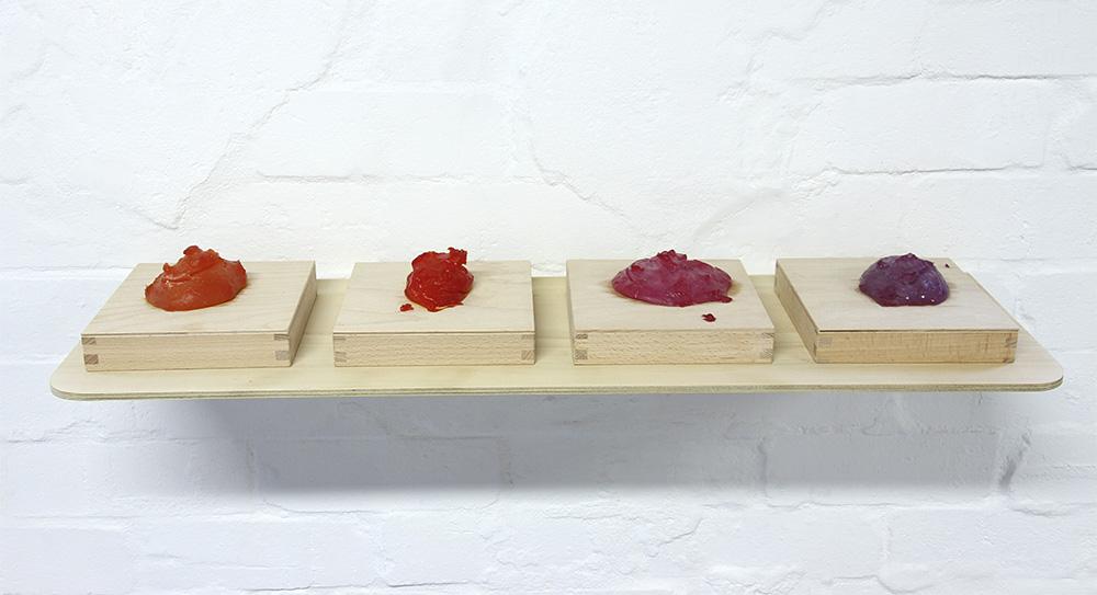 Sarah Newall: Plastic Blobs (orange, dark orange, red, dark red), 2014, bio-plastic