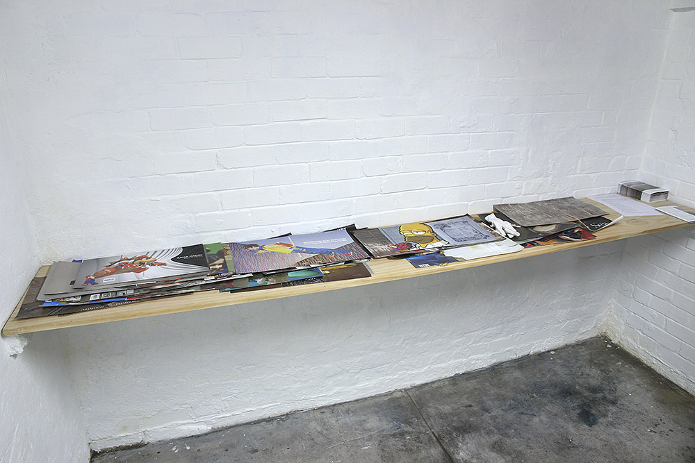 """""""Butcher's Hook"""", 2013-14, installation view. Mark Titmarsh, 52 paper collages, variable dimensions"""