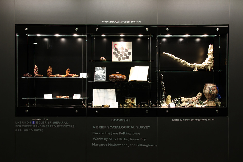 """""""A Brief Scatological Survey"""", curated by jane Polkinghorne. Artists (LHS) Margaret Mayhew, Sally Clarke, (centre) objects abd books from collection of Jane Polkinghorne, (R) Trevor Fry"""