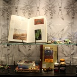 "Sarah Newall ""wild Food Project,"" 2015. Books, perseveres, yarn, seeds, photocopies, Femo."