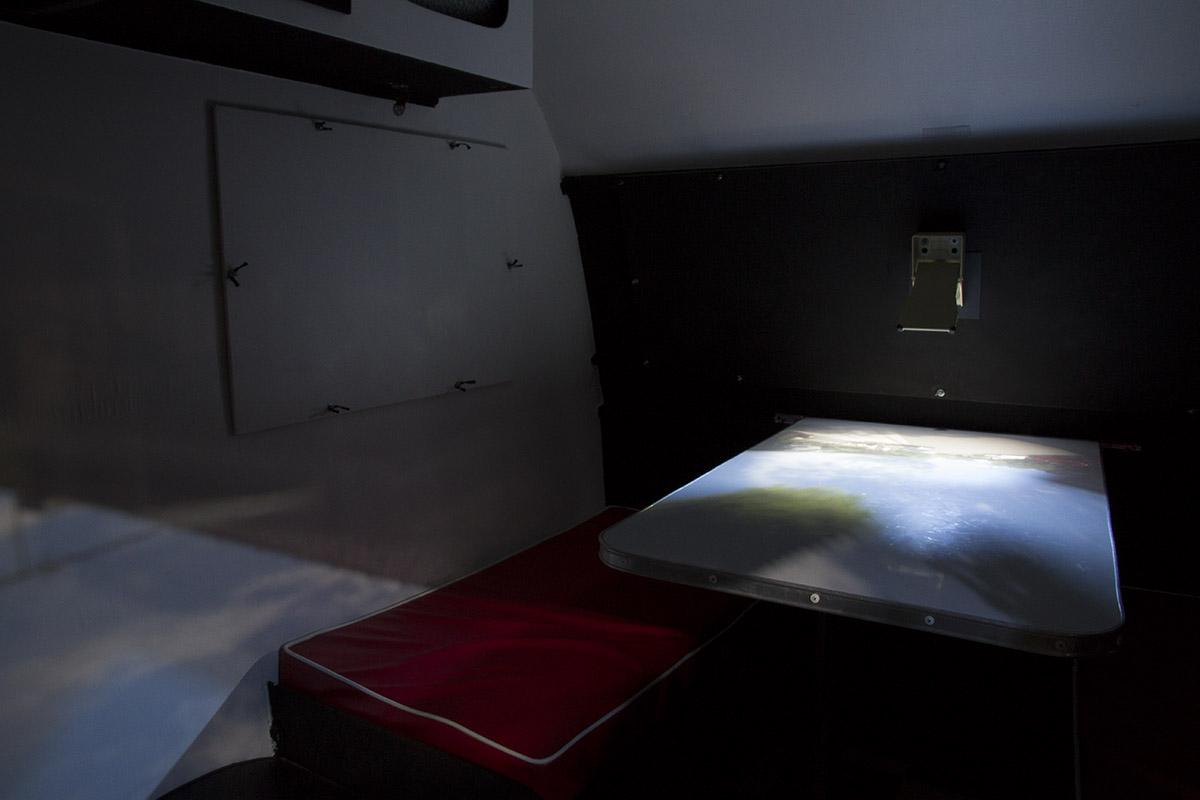 Claire Conroy, Caravan Obscura, interior view, 2016