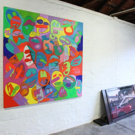 Prince Aydin, I have been here all along, acrylic on canvas 2016, and Paint Like A Man (Apparently), 2016, video, installation view