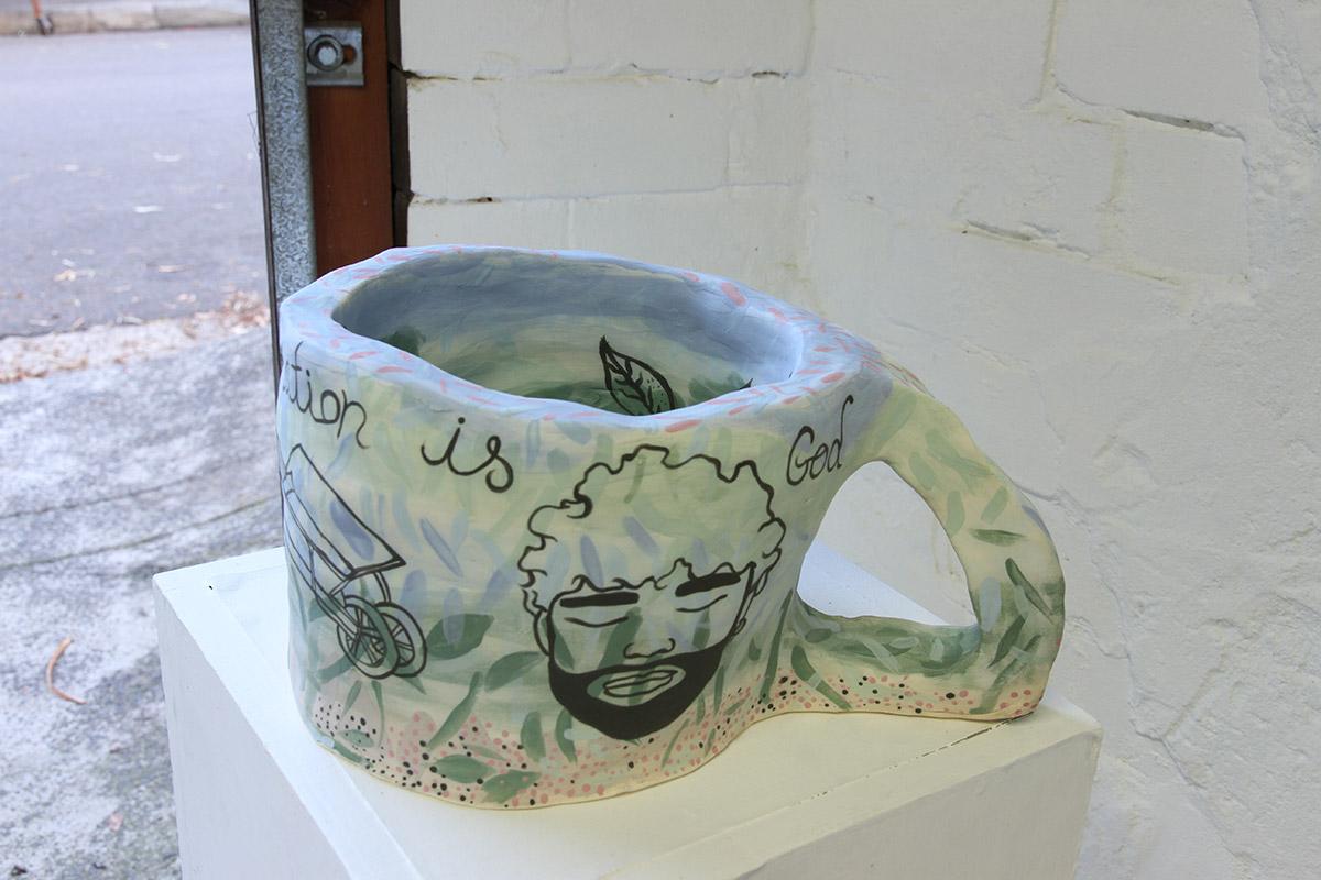 Jacqueline Larcombe, Self actualisation mug, 2015, earthenware, under glaze.