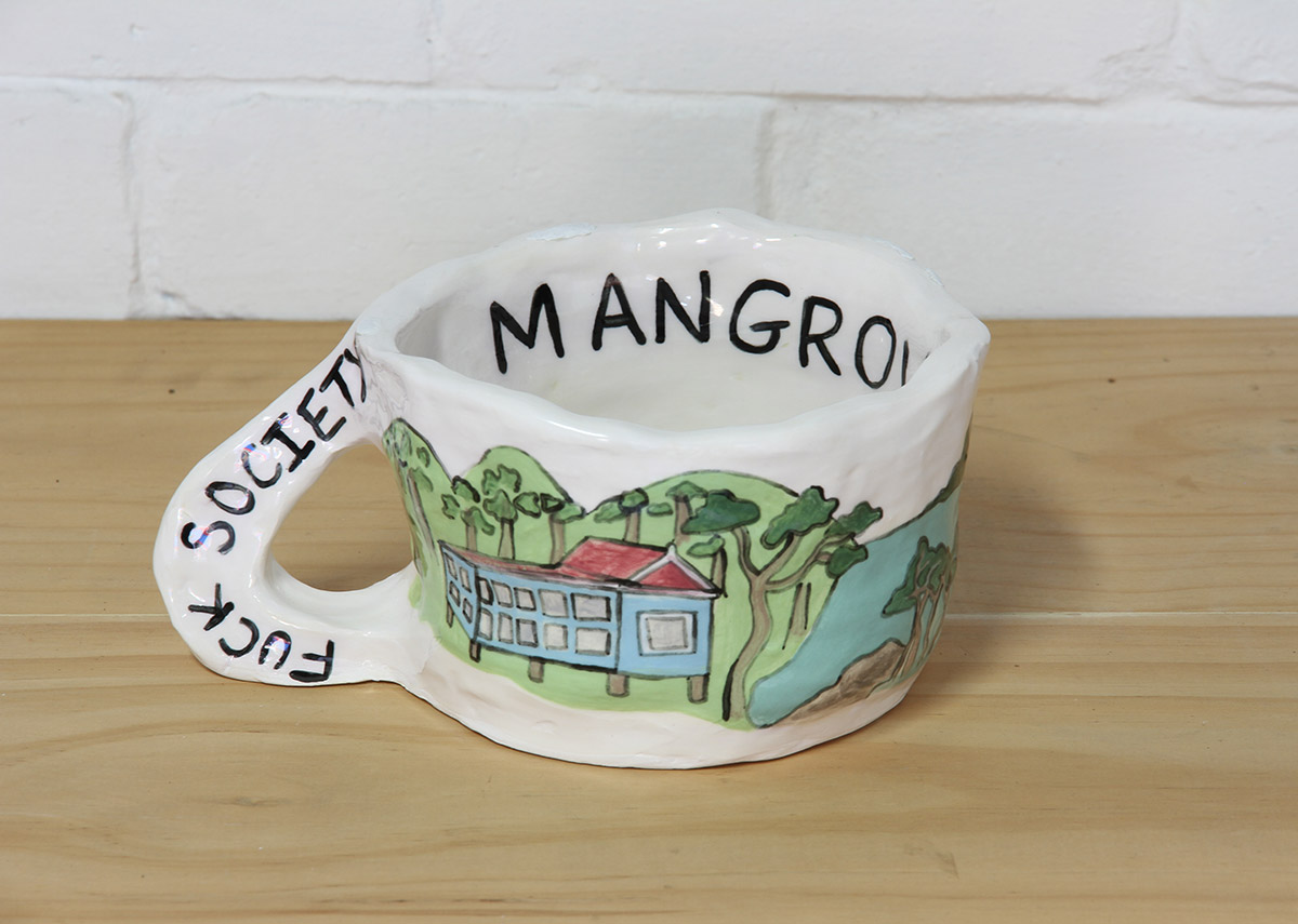 Jacqueline Larcombe, Fuck society mug, 2015, earthenware, under glaze.