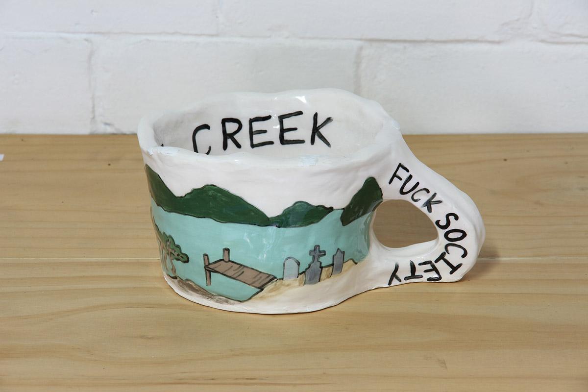 Jacqueline Larcombe, Fuck society mug, 2015, earthenware, under glaze.